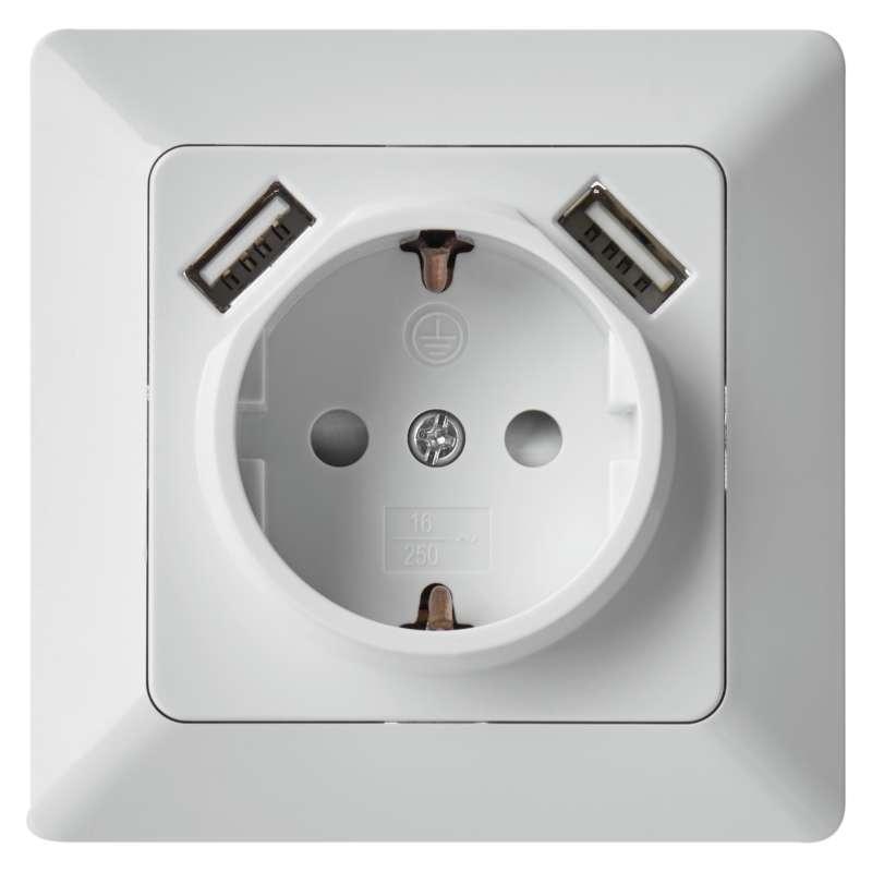 Emos Zásuvka s USB 2,1A max. SCHUKO, bílá A6000.1