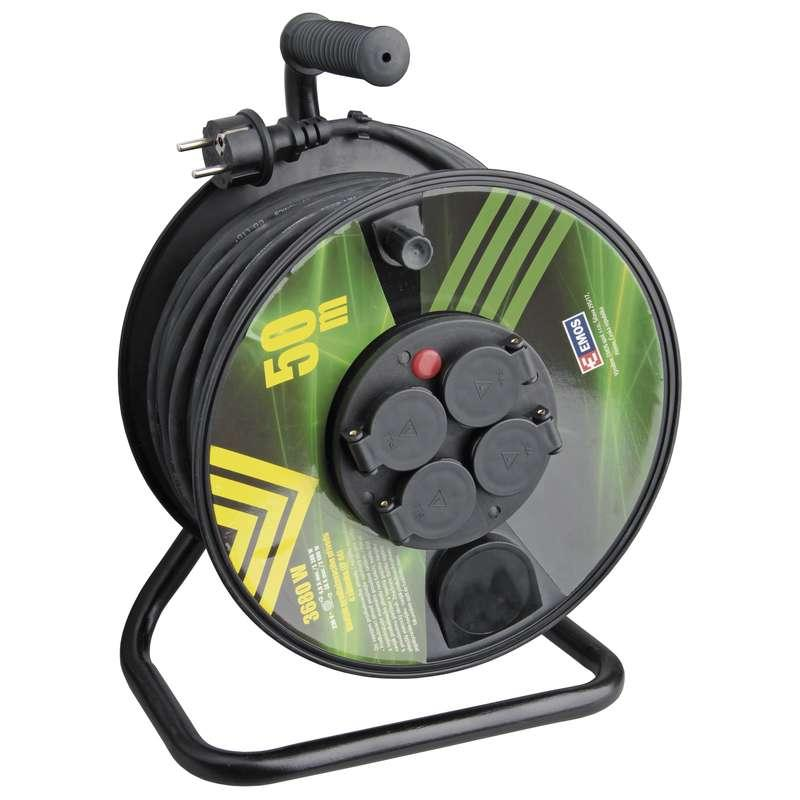 Emos Gumový prodlužovací kabel na bubnu – 4 zásuvky, 50m, 1,5mm2 P084501