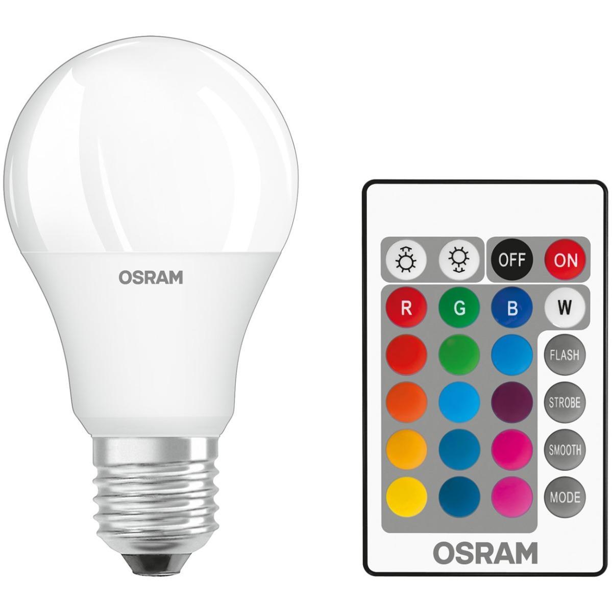 LED žárovka LED E27 A60 9W = 60W 806lm RGBW 180° OSRAM Star + Ovladač OSRLEDH0325