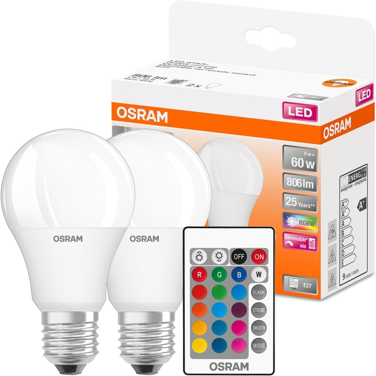 2x LED žárovka LED A60 E27 9W = 60W 806lm RGBW 180° OSRAM Star + Ovladač OSRLEDH0330