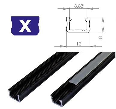 LEDLabs Hliníkový profil LUMINES X 2m pro LED pásky, černý