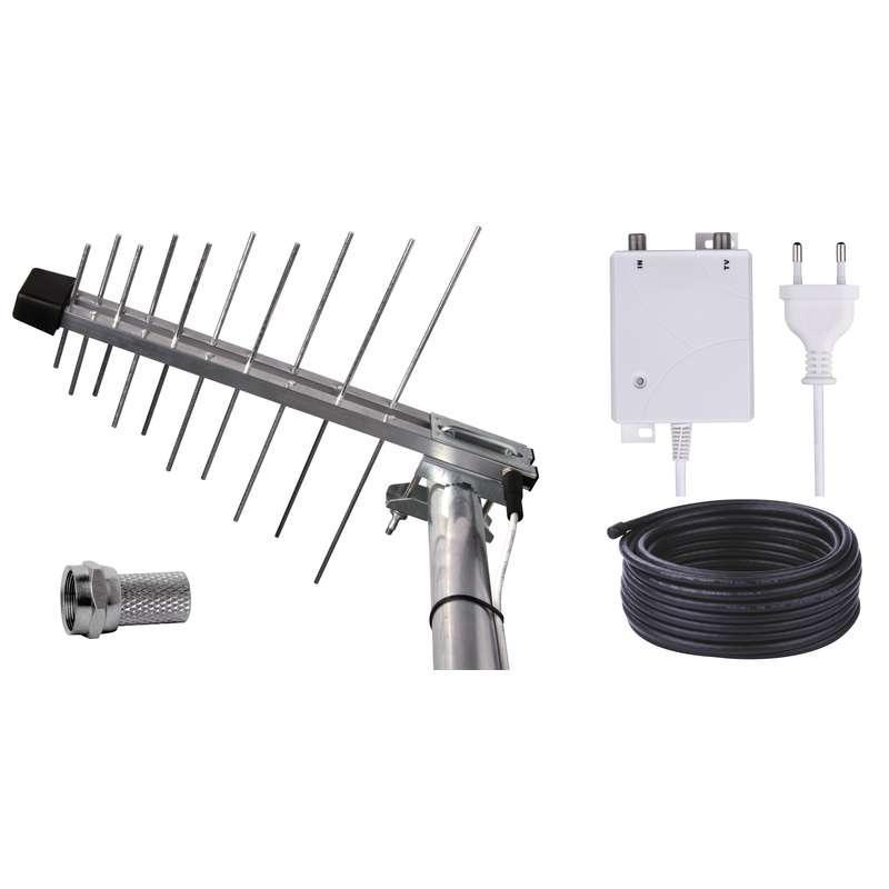 Venkovní anténa EMOS EM-20G/Z, se zdrojem 0–100 km DVB-T2 J0667