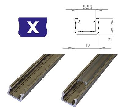 LEDLabs Hliníkový profil LUMINES X 1m pro LED pásky, inox