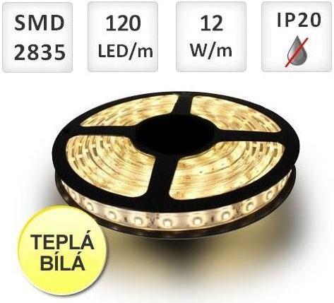 PREMIUMLUX LED pásek 120ks 2835 12W/m Teplá bílá, cena za 1m