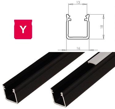 LEDLabs Hliníkový profil LUMINES Y 1m pro LED pásky, černý